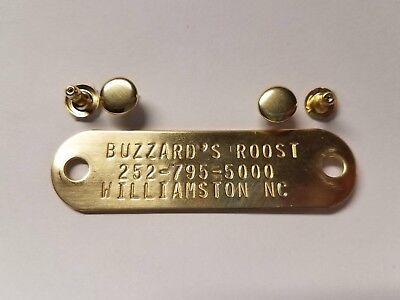 ENGRAVED STAMPED BRASS ID TAG FOR PET DOG COLLAR NAME PLATE w/ 1 RIVET SET