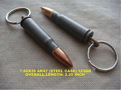 REAL BULLET KEYCHAIN 7.62X39 AK47 (STEEL CASE)