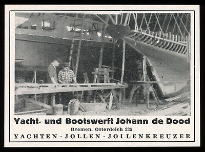 Reklame 1954 (2) Yacht- und Bootswerft Johann de Dood & Sohn Werft Bremen