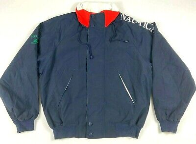 Vtg Nautica Men's J-Class Challenge Spell Out Hooded Jacket  Size XL Navy Blue