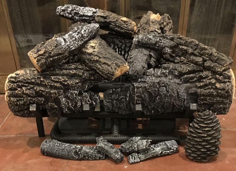 "Hargrove Fireplace Yukon Char 24"" Vent-Free Millivolt Gas Log Set w/ Burner"