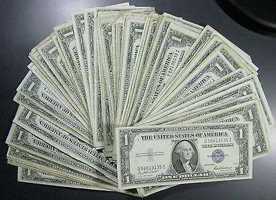 Lot of 25 Silver Certificate Dollar Bills Great for Flea Markets FREE P/H!