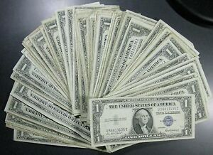 Lot of 25 Silver Certificate Dollar Bills Great for Flea Markets FREE P/H!