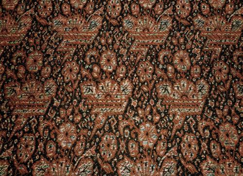 Antique 19thc Floral Jacquard Woven Wool Piece ~ Black Terra Cotta Rust Brown ~