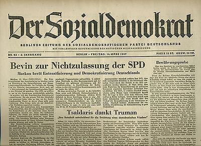 DER SOZIALDEMOKRAT vom 14.3.1947 [Nachkriegszeit] vintage German newspaper