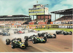 1967 British Grand Prix Silverstone Jim Clark Lotus Motoring Art Greeting card