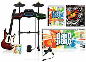 NEW PS3 BAND HERO Super Bundle Kit + Warriors of Rock Game guitar/drums/mic Set
