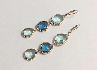 - Elegant drop dangle yellow gold plated light dark blue earrings elegant