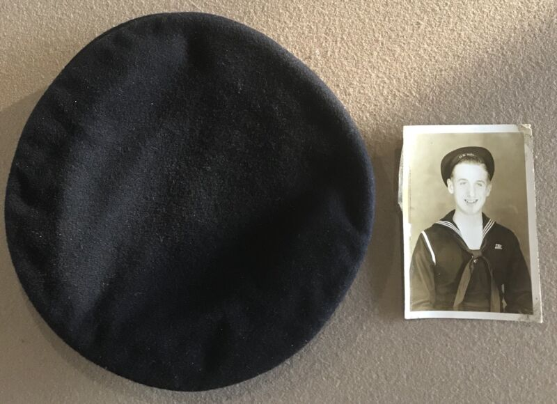 WWI USN NAVY BLACK WOOL SUBMARINER HAT with PHOTO