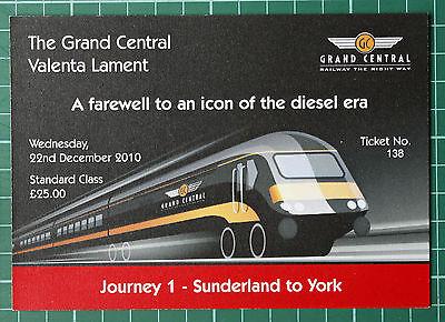Grand Central HST Valenta Lament ticket 2010 STANDARD, trip 1 Sunderland to York