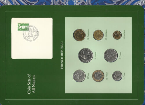 Coin Sets of All Nations France French 1969-1990 UNC 2 Francs 1981 1 Franc 1969
