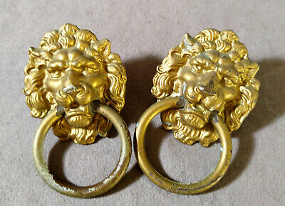 Lion Ring-pull (2 Vintage Brass Lion Heade Ring Pull Handle Knobs Gold Tone Furniture Accent)