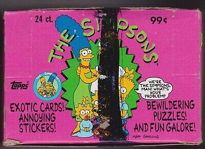 1990 Full Topps Jumbo Box Of Simpson Cards-24 Cello Packs-16 Cards & 1 Sticker!!