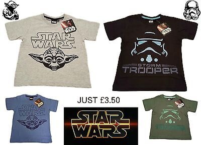 Boys Kids STAR WARS Tshirt Top Short Starwars Character Official License Yoda