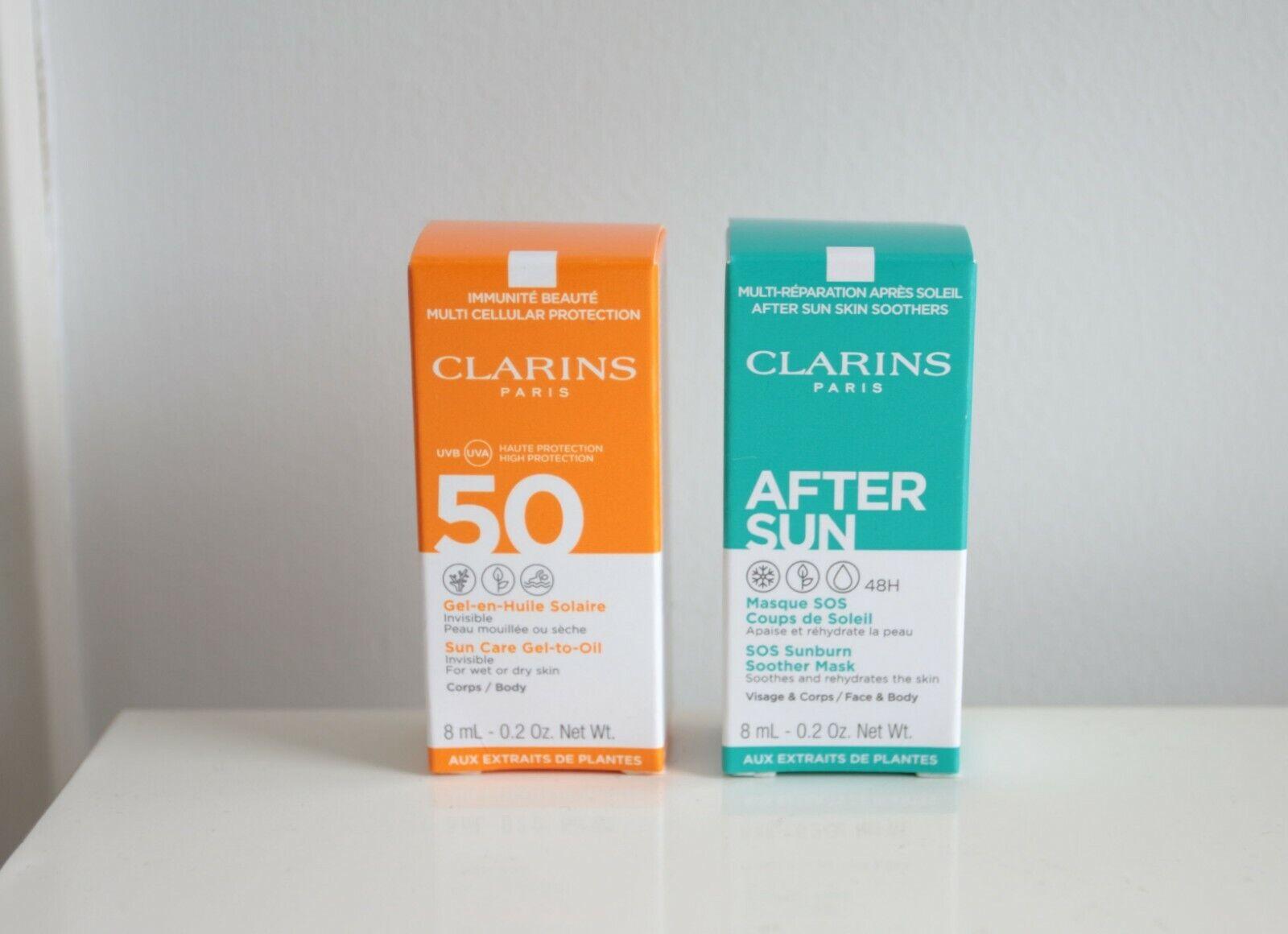 CLARINS Öl-in-Gel Sonnenschutz UVB/UVA 50 + After-Sun Pflegemaske 8 ml