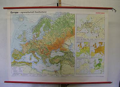 Schulwandkarte Beautiful Old Wall Map Europa Forests Lake Fishing 135x98 ~ 1970