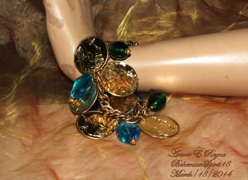 AWESOME GYPSY GOLD COINS METAL CHARMS CZECH GLASS RHINESTONE HANDMADE BRACELET