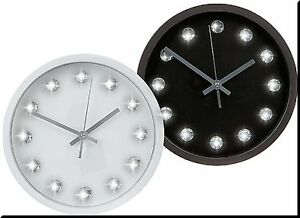 Round black or white face wall clock diamante bling retro - Black and white kitchen clock ...