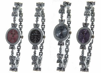 Women Elegant Watch White Gold Finish Case And Band With CZ Crystals 4 Colors
