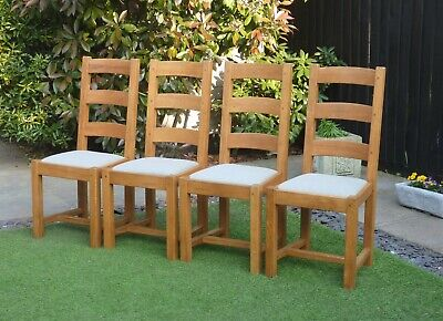 SET OF 4 SOLID OAK FARMHOUSE DINING CHAIRS. DELIVERY AVAILABLE