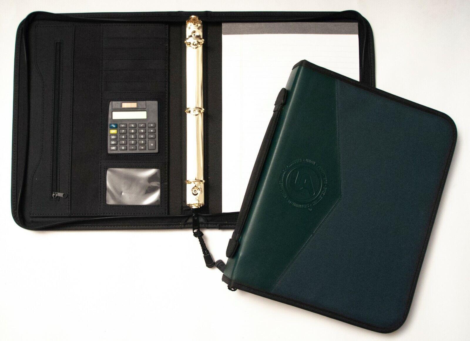 "1"" Zipper Ring Binder/Padfolio with Pad & Calculator, Green"