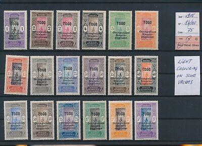 LO18661 Togo 1916 occupation overprint fine lot MH cv 75 EUR