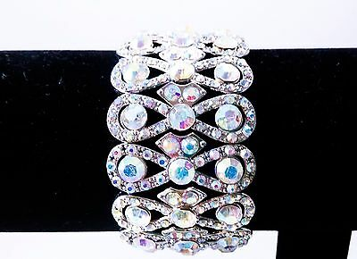 AB Aurora Borealis Silver Bracelet Stretch Wedding Bride Pageant Prom Showgirl, usado comprar usado  Enviando para Brazil