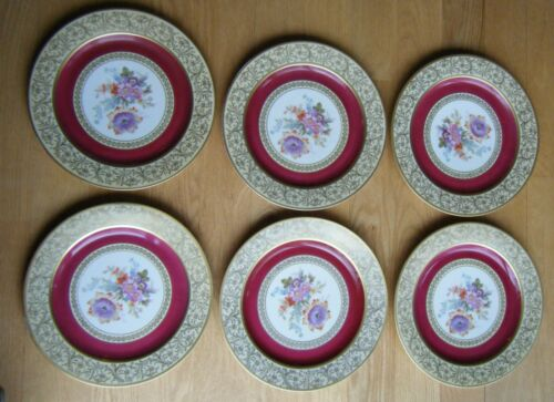 Set of 6 Bavaria Tirschenreuth Decorated in Own Studios Floral Dinner Plates 11""