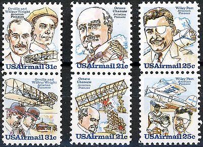 Pioneer Aviators 3 Se-Tenant Airmail Pairs MNH Scott's C91 C92 C93 C94 C95 & C96