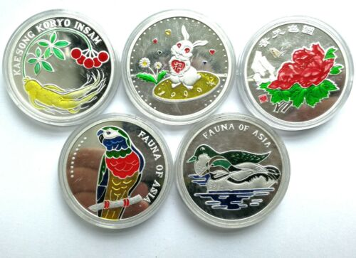 "L3094, Korea ""Animals"" Full Set 2007 Colorful Commemorative Coin 5 Pcs, Alu"