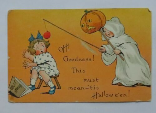 VTG Halloween Postcard Raphael Tuck Ghost Child W/ Pumpkin Scaring Girl