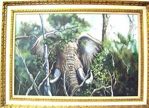 LINDA-LLOYD-Original-Oil-on-Canvas-Elephant-Signed-Special-Unique