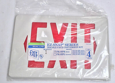 Exit Sign Cover - Dual-lite Ez-snap Double Face Conversion Kit - Red New