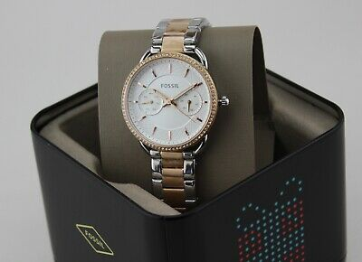 NEW AUTHENTIC FOSSIL TAILOR SILVER ROSE GOLD CRYSTALS WOMEN'S ES4396 WATCH