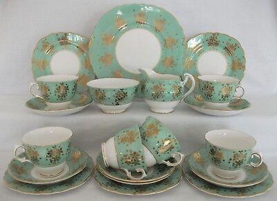 VINTAGE COLCLOUGH BALLET HARLEQUIN MINT GREEN GOLD 20 PCE CHINA TEA SET WEDDING