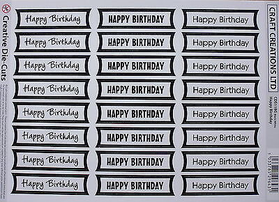 24 HAPPY BIRTHDAY die cut banners (#118G) - white/black