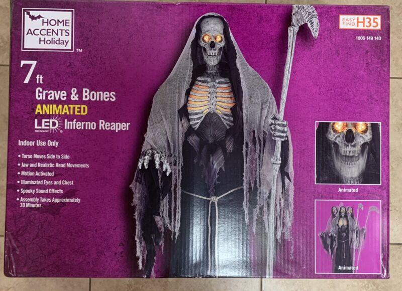 7 ft Grave & Bones Animated LED Inferno Reaper Halloween 2021