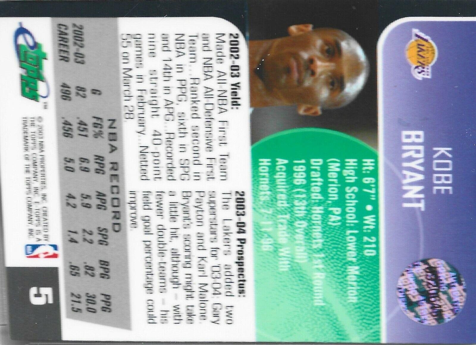 2003-04 ETopps KOBE BRYANT LAKERS Basketball Card 5 /1,371 Refractor - $290.00