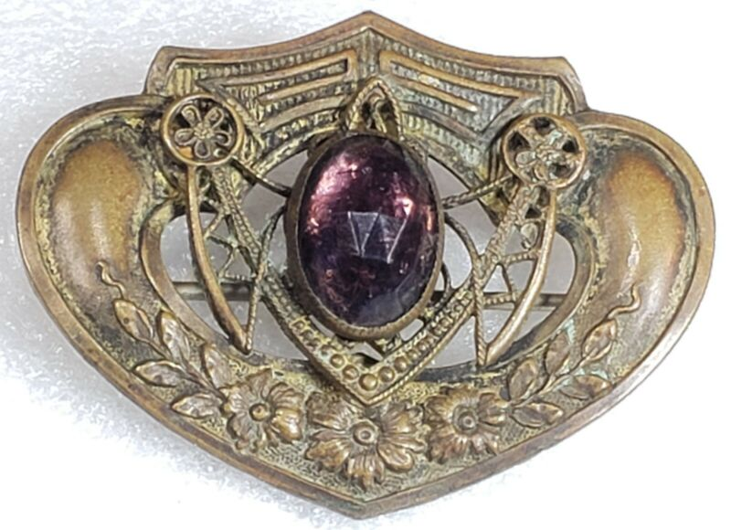 Antique Victorian ART NOUVEAU Brass Floral Design Purple Rhinestone Brooch