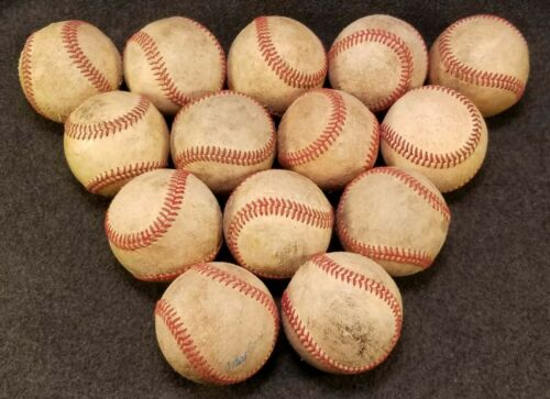 Lot of 14 Practice League Baseballs B GRADE ALL Leather Batting Practice Balls