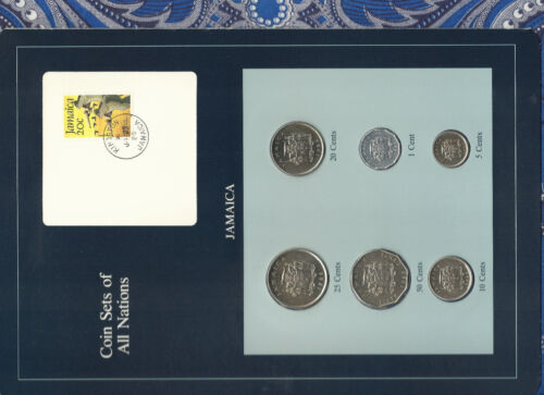 Coin Sets of All Nations Jamaica w/card UNC 50,25,20,10,5 cents 1986 1 Cent 1983