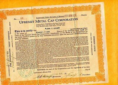 1925 UPRESSIT METAL CAP CORP DELAWARE 25 SHARES STOCK CERTIFICATE