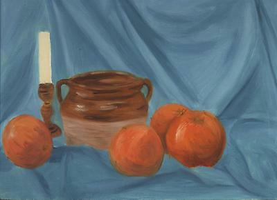 FOLK ART PRIMITIVE ORANGES FRUIT WHITE CANDLE CROCK POT STILL LIFE OLD PAINTING