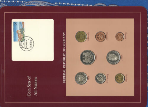 Coin sets of all nations Germany w/card 1986-1988 UNC  2,5 Mark 1988 1 Mark 1986
