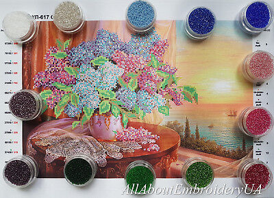 Lilac Bead Embroidery Needlepoint Handcraft Tapestry kit Spring Flowers pattern