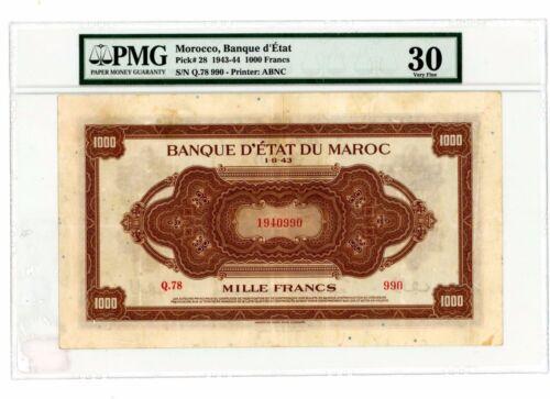 Morocco ... P-28 ... 1000 Francs ... 1943-44 ... *VF* PMG 30.