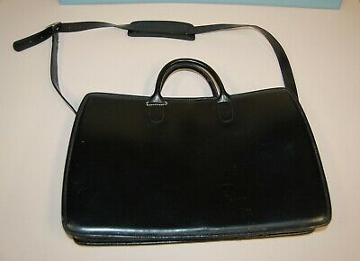 JACK GEORGE ELEMENT COLLECTION TRIPLE GUSSET BLACK LEATHER BRIEFCASE