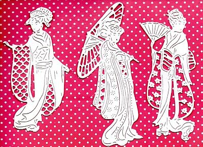 9 NEW TATTERED LACE VILLAGE GOSSIP GEISHA GIRL DIE CUTS -JAPANESE LADY ORIENTAL