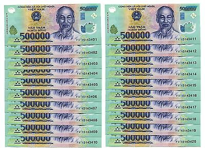 10 MILLION DONG = 20 x 500,000 500000 VIETNAM POLYMER CURRENCY BANKNOTES UNC