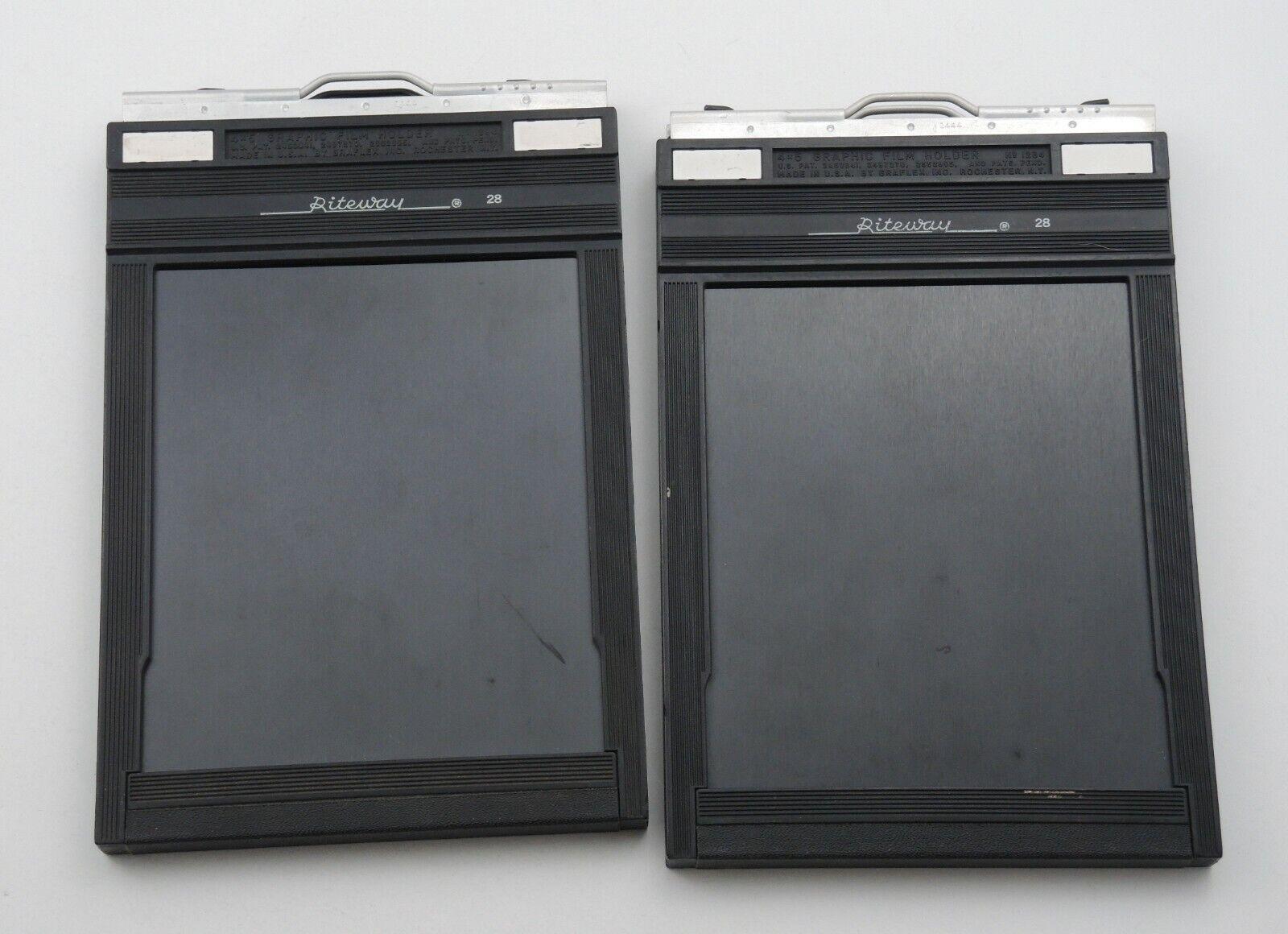 LOT Of 2 Riteway 4x5 Graphic Graflex Film Holder Holders / Cut Sheet Film NICE - $19.99
